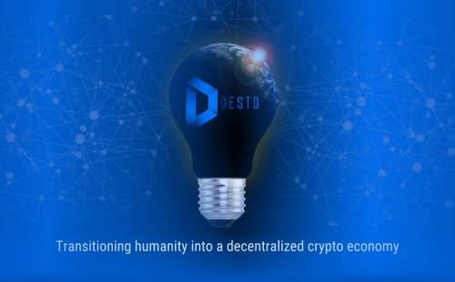 DESTO blockchain pitch deck. Slide 01